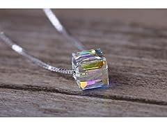 Aurora Borealis Swarovski Cube Necklace