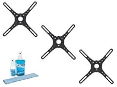 "3pk Flat Mount for 13-37"" w/ Screen Cleaning Kit"