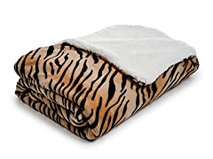 Fleece Blanket w/ Sherpa Backing- Tiger