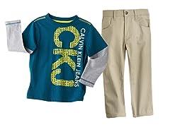 Logo Long Sleeve Top & Khaki Pant (2T-7)