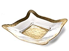"Square Bowl 14"" Gold or Silver Rim"
