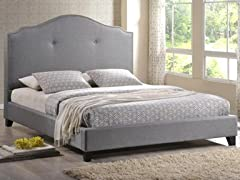 Marsha Scalloped Gray Linen Modern Bed