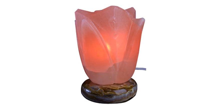 Above Edge Himalayan Salt Lamp with USB Plug- Lotus Flower