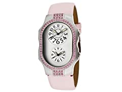 Women's Dual Time Light Pink Leather Watch