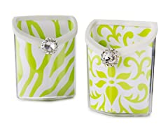 Accessory Bin 2pk - White/Lime Damask