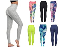 3PK Womens Active Athletic Bubble Leggings