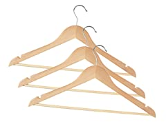 Wooden Hangers Natural 72-pc