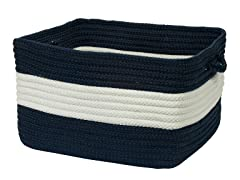 Banded Storage Basket Rectangle - Navy (2 Sizes)