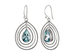 Greg Anthony Bali Genuine Blue Topaz Earrings