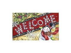 Welcome Doormat w/ Snowman & Snowflakes