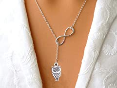 Trendy Infinte Owl Charm Necklace