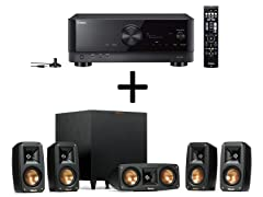 Yamaha TSR-700 7.1 Channel AV Receiver with 8K HDMI and MusicCast + Klipsch Reference 5.1 Channel Surround Sound System