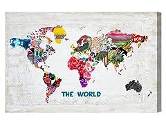 Oliver Gal 'Hipster Mapa Mundi' Canvas Art