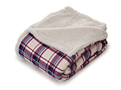 Fleece Sherpa Blanket Throw - Plaid
