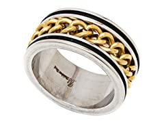 2-Tone Gold Plated Cuban Link Ring