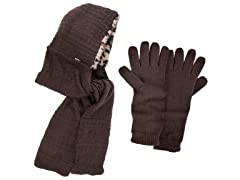 Muk Luks Hooded Scarf with Texting Gloves