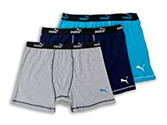 Puma Boxer Briefs 3-Pack, Grey/Blue