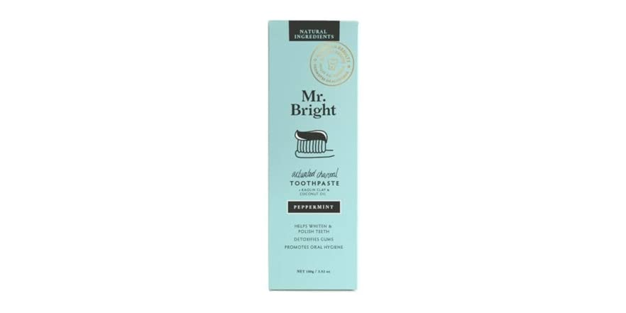Mr Bright All Natural Whitening Toothpaste - Refreshing Peppermint - Whitens & Cleans Your Teeth Up to 5 Shades Whiter (Charcoal) 2 Pack | WOOT