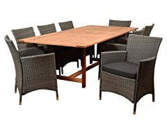 Liberty Deluxe 9-Piece Patio Extendable Dining Set