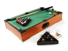 Tabletop Pool with 6 Shot Glasses