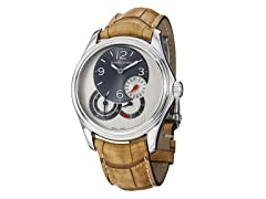 Men's Bressel Silver Dial Tan Alligator