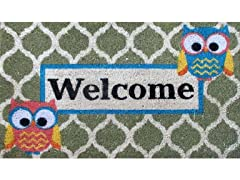 Welcome Who Weather-Resistant Outdoor Coir Doormat