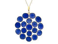 18k Gold Plated SS Dye Sapphire Necklace