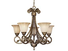 5-Light Chandelier, Biscay Crackle