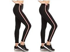 Nextex Women's Cotton Stripe Leggings 2P