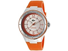 Women's Silver Tone Dial Orange Silicone