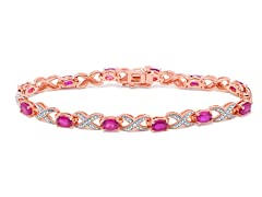 Ruby & Diamond XO Bracelet