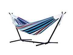 Double Hammock with Steel Stand, Denim