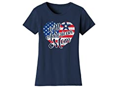 Womens All American Mom with Heart Flag