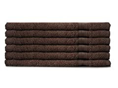 MicroCotton 6pc Hand Towel Set-Chocolate