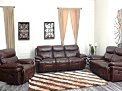 Riley 3-Piece Leather Reclining Set
