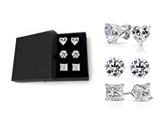 6.00 CTTW Sterling Silver Round Square And Heart Cut Studs With Gift Box