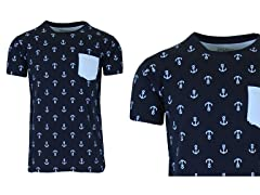 Mens S/S Printed Tee With Chest Pocket