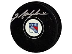 Mark Messier Rangers Signed Puck
