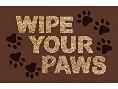Printed Coir Welcome Mat, Wipe Your Paws Brown