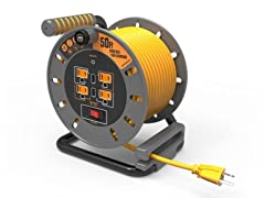 MasterPlug Extension Cord Reel w/ USB Charging