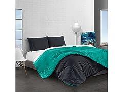 Reversible Brushed Microfiber Plush Down-Alt Comforter 3 Piece Set
