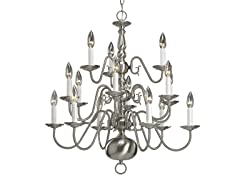 15-Light Chandelier, Nickel