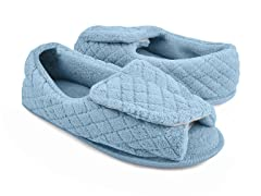 Micro-Chenille Adjustable Open Toe Full Foot Slipper, Light Blue