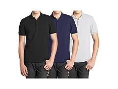 Mens 3PK S/S Pique Polo Shirts
