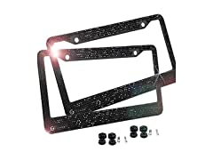Black Rhinestone License Plate Frames