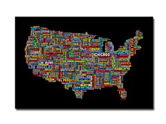 US Cities Text Map II' Canvas Art- 2 Sizes