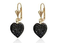 Black Onyx Druzy Crystal Heart Drop Earrings
