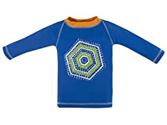 Hang Ten Blue Geo Tile: Rash Guard (3/6M