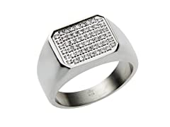 Stainless Steel Pave CZ Square Ring