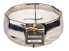 RibbonWick Large Silver Forest Round Candle